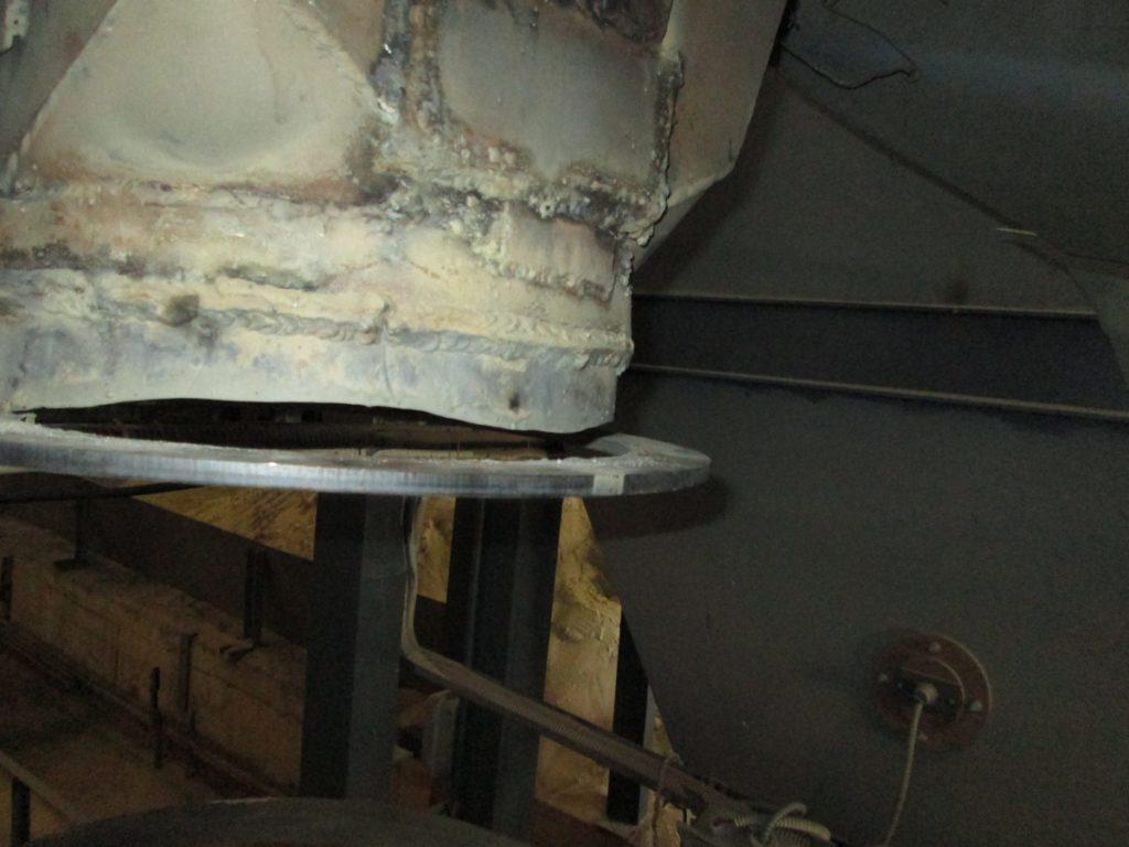 Повреждения до модернизации аэрофонтанной сушилки для песка