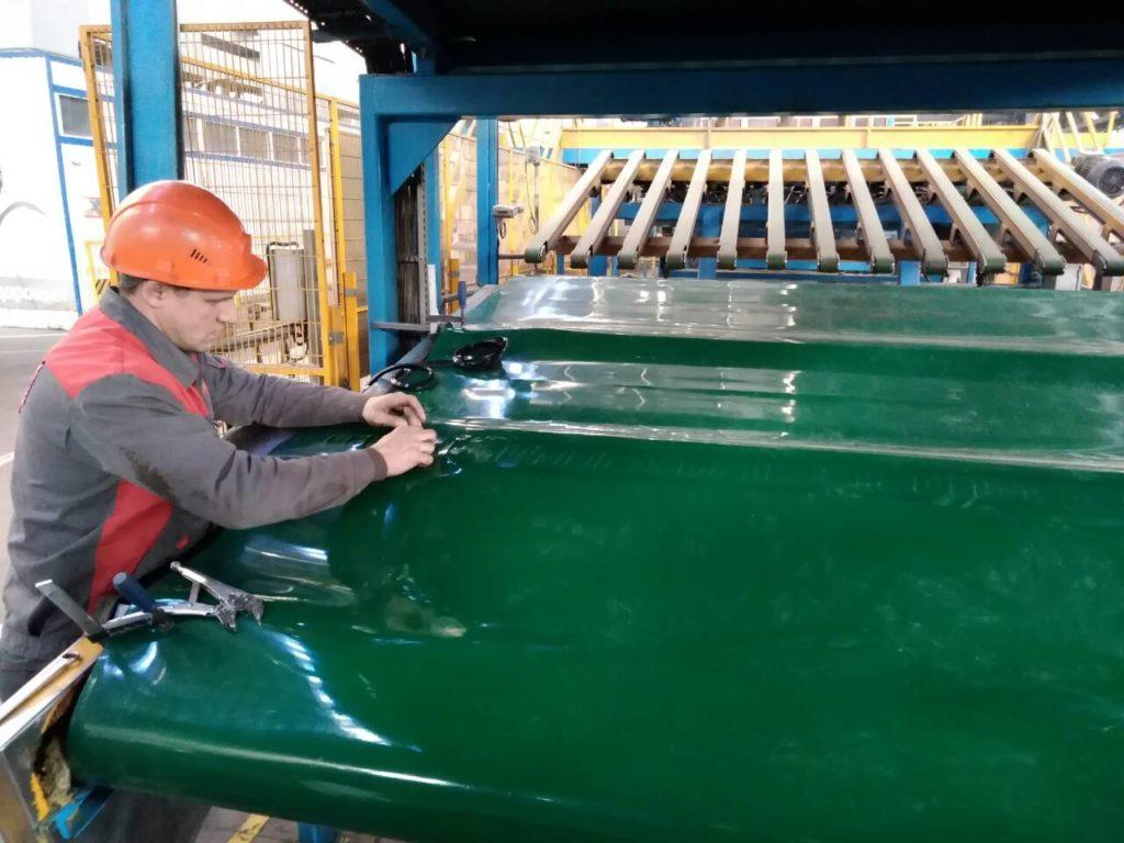 Изготовление Широкой конвейерной ленты ПВХ в кольцо методом горячей вулканизации
