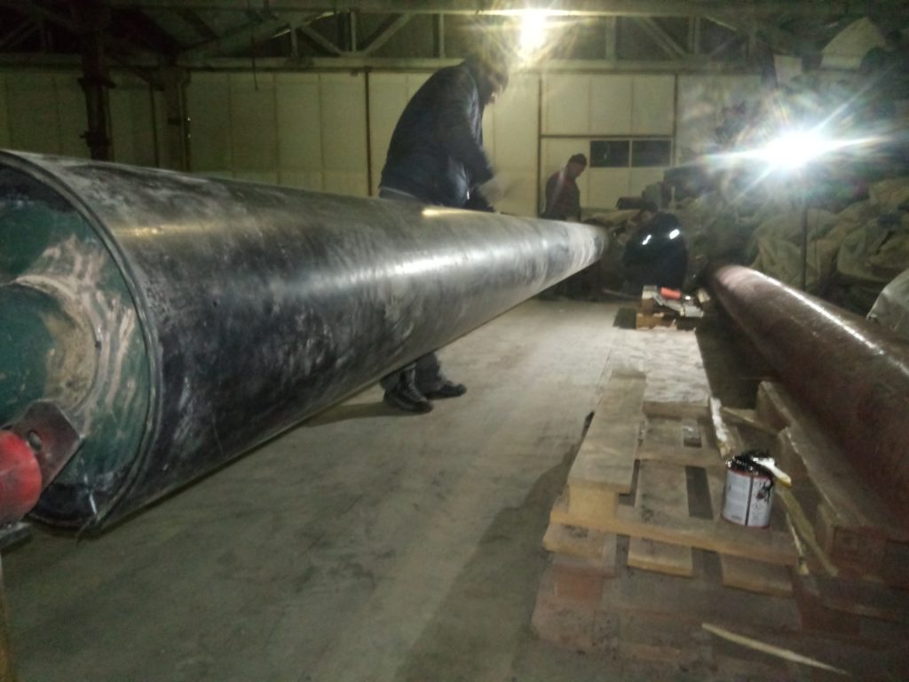 Футеровка валов длиной 7200, диаметром 370 для полимерного производства